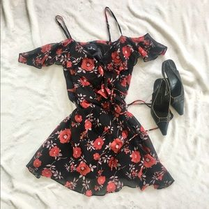 Lulus black floral print wrap dress